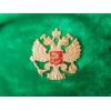 Зелёная шапка-ушанка с Гербом России